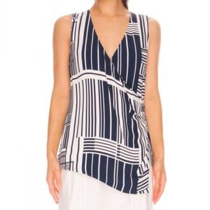 C/MEO Night Air Sleeveless Blouse - Navy Grid